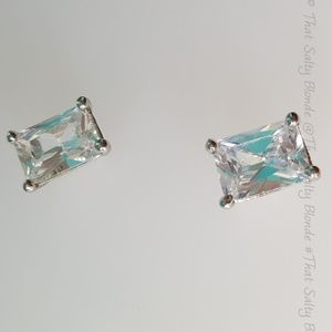 Jewelry - silver colored square CZ earrings